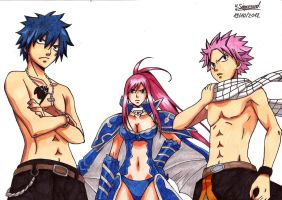 Fairy Tail Fanart: Gray, Erza and Natsu by JasiChan17