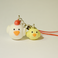 Cute Polymer Clay Chicken and Chick Phone Charm by Linnypig