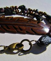Bone Feather and Black Tourmaline Beaded Necklace by SadiesAccessories