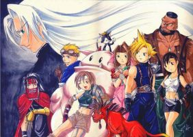 Final Fantasy 7 cast posing by yapi
