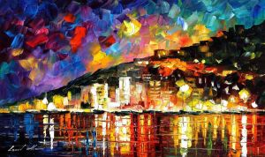 Harbor by Leonid Afremov by Leonidafremov