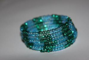 Blue and Green memory wire bracelet by RG-Studios