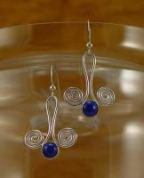 Lapis Lazuli Spiral Earrings by StephaniePride