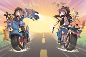 PKMN BATTLES ON MOTORCYCLES by Sir-Doomy