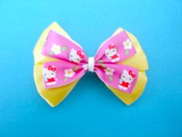 Yellow and Hello Kitty Bow by BoldKreations