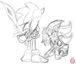 Sonic and Lancelot sketch by shadowhatesomochao