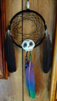Black Rainbow Skull Dreamcatcher by Jacqueline-Victoria