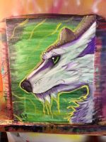 Painting Fun wolf antlers by omfgitsbutter