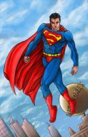 Superman over Metropolis by Esdras78