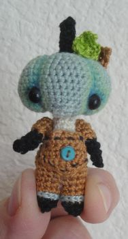 Little Blue Micro Crocheted pumpkinhead doll by peggytoes