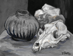 Rock Vase and Coyote Skull Digital Version by TreePruitt