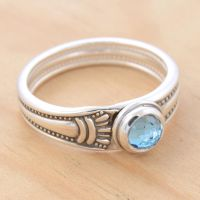 Spoon Ring w Blue Topaz by metalsmitten