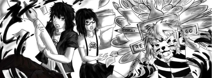 FB Cover:: B/W painting by Pixelstepper