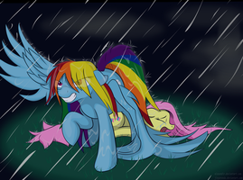 Dashie Protects Fluttershy (Final) SFW version by Alaxandir