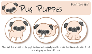 Pug Button Set by littlepaperforest
