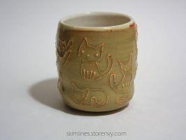 Cats Cream Rust Tea Cup by skimlines