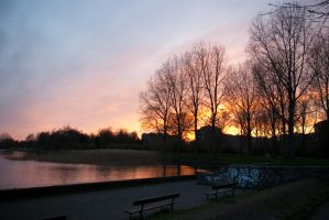 Sunset in the park by steppelandstock