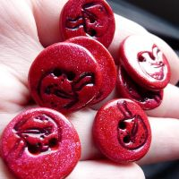 FORTUNE COOKIE Buttons in Red by che4u
