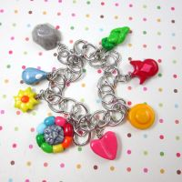 Pokemon badge charm bracelet by TrenoNights