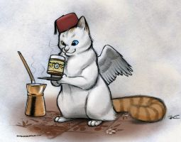 Turkish Caffeine Cat by RobtheDoodler