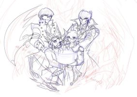 WiP giftart yugioh + 5ds by slifertheskydragon