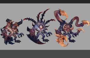 Chaos Spawn variants by Rayph