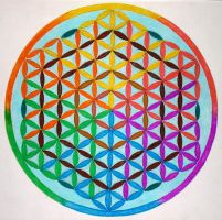 Spectrum flower of life mandala by Aneniko