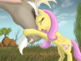 That's love for you. Discord and Fluttershy by kazifasari