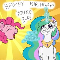 MLP ATG: CELESTIA'S OLD! LOL!!! (Day 15) by AniRichie-Art