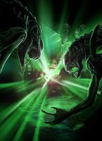 Green Lantern vs. Aliens by samrkennedy