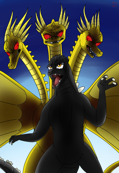 Godzilla VS King Ghidorah (1991) by YourFriendDestoroyah