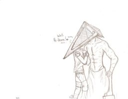 Red and the Pyramid Head by Poisonous-Arrows