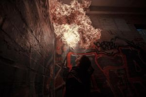 self fire volcano wall breathe by wasted49