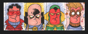 2013 Marvel Fleer Retro sketch cards 097-100 by thecheckeredman