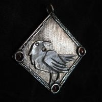 Medieval raven 925 silver pendant by omegaptera