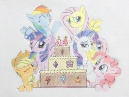 24th Birthday with the Mane 6! by DON2602