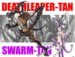 Deathleaper-tan and Swarmy-tan by DemonMads