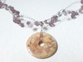 pink crochet necklace by KalaArt