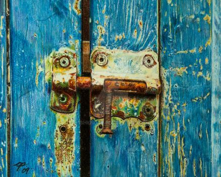 Rust Against Shades of Blue by Fishknots