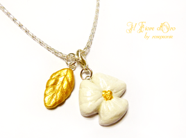 Snow Pansy and Golden Leaf necklace by rosepeonie