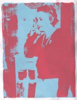 Annie On the Phone Silkscreen1 by MORGANSTIEN