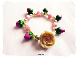 Pink Strawberry Rose Bracelet by Cateaclysmic