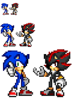 Sonic and Shadow Style Test by MattTheHedgehog57
