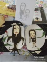 Morticia and Wednesday Addams by NadienSka