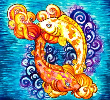 Twin Koi Fish by Ghouley