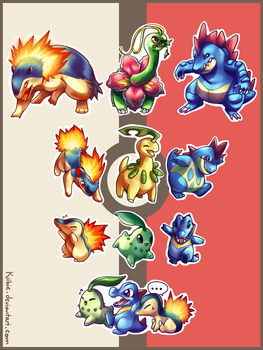 Gen 2 starters sticker pack by Kiibie