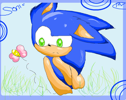 Chibi Sonic~ Chasing a Butterfly by vanilla-button