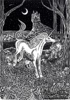 The Last Unicorn - Sgraffito by Monica-NG