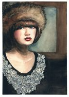 Girl with a fur hat by Miliedessine