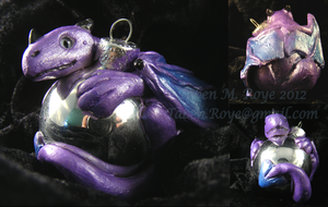 Purple Dragon Sculpted Ornament by Tanadrine-Studios